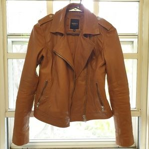 Womens Barney's Originals Brown Leather Jacket